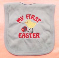 Embroidered My first Easter chick baby bib